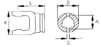 Вилка внутренняя треугольной трубы Benzi под крестовину 23.8×61.3 мм