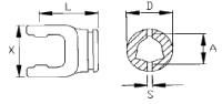 Вилка наружная треугольной трубы Benzi под крестовину 41×108 мм