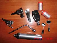 Ветеринарный набор отоскоп, офтальмоскоп, риноскоп + насадка с зеркалами, лопатка