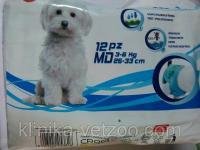 Подгузники для собак и кошек весом от 3 до 6 кг, 12 шт